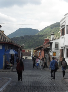 bogota's oldest neighborhood with the Andes in the background