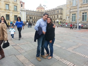 me and dad in the plaza de bolivar (bogota)